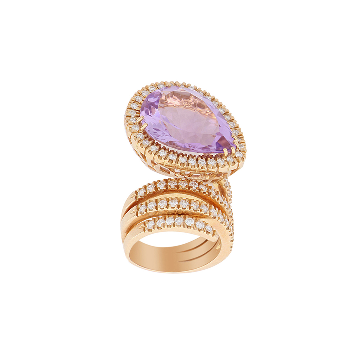 Spiral Ring with Pear-Cut Amethyst and Diamond Halo