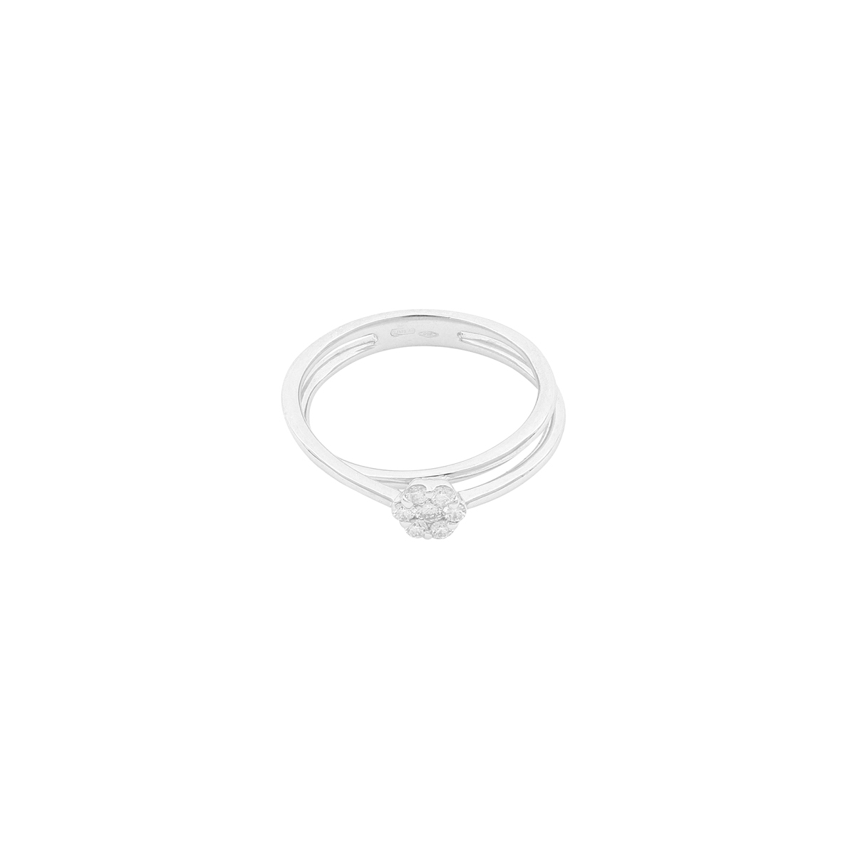 Magic Collection - 0.21 ct Diamond Flower Split Shank Ring in 18 Kt White Gold