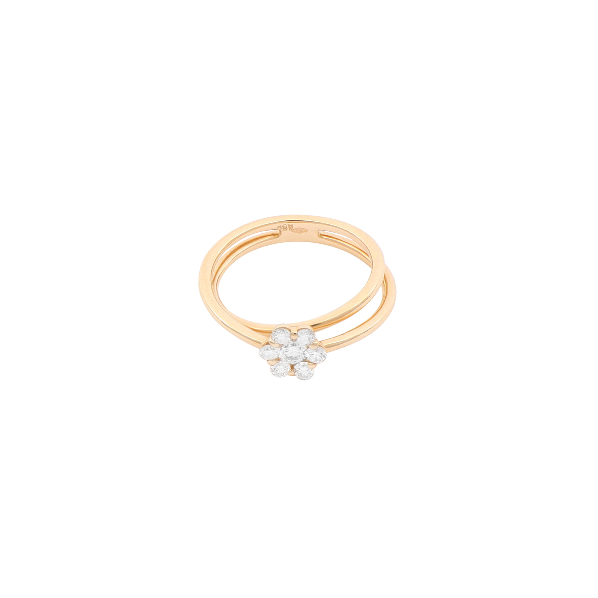 Magic Collection - 0.43 ct Diamond Flower Split Shank Ring in 18 Kt Red Gold