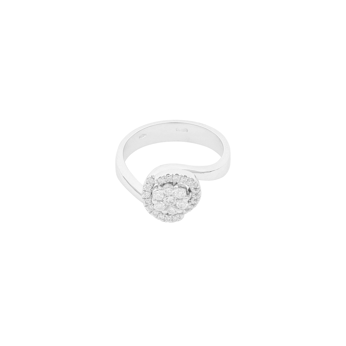 Magic Collection - 0.44 ct Diamond Flower Bypass Ring in 18 Kt White Gold