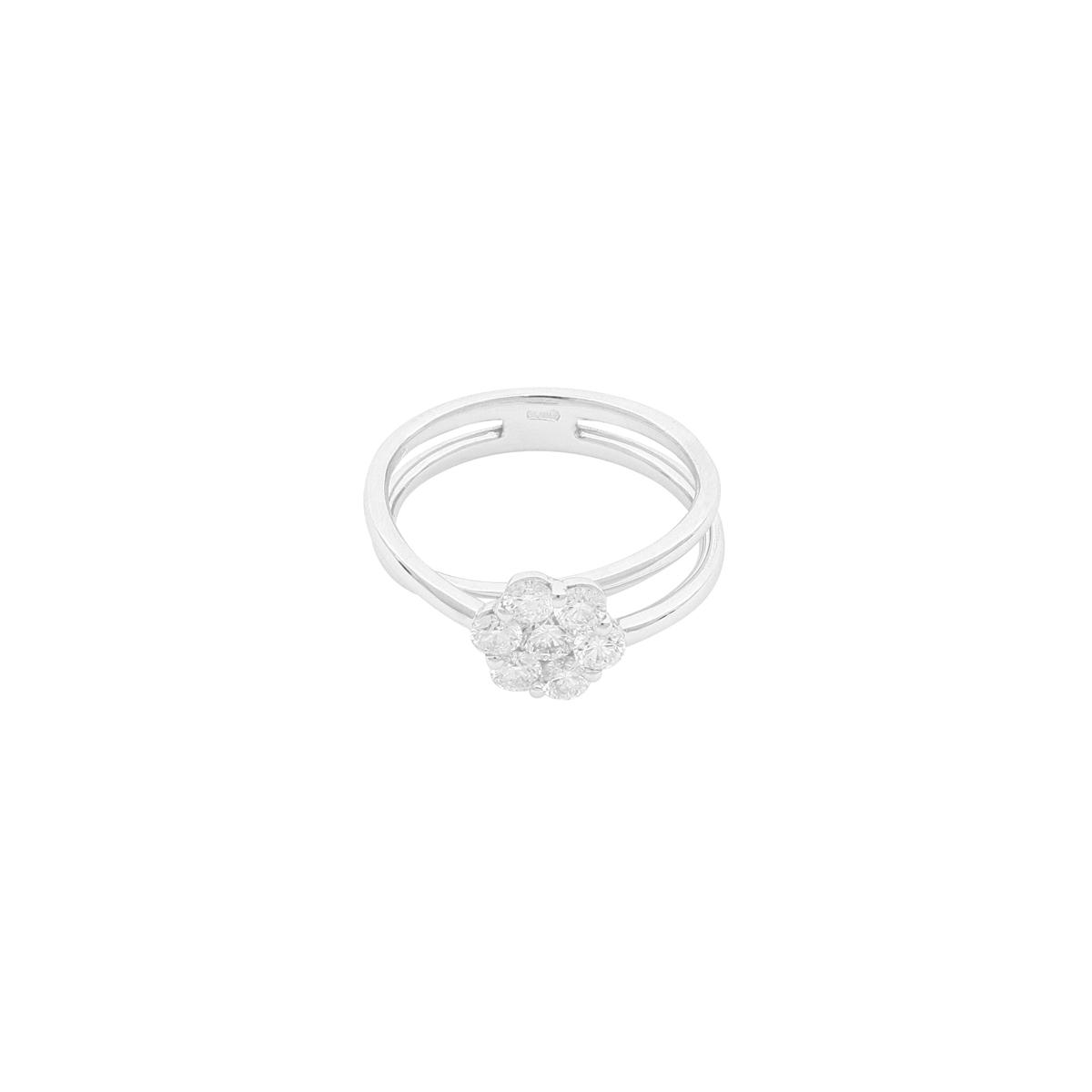 Magic Collection - 0.95 ct Diamond Flower Split Shank Ring in 18 Kt White Gold