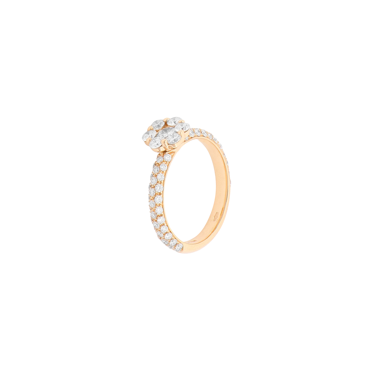 Magic Collection - 1.25 ct Diamond Flower Ring in 18 Kt Red Gold