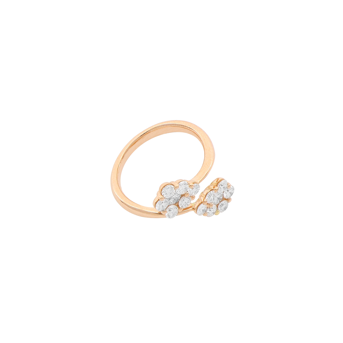 Magic Collection - Diamond Cluster Bypass Ring in 18 Kt Red Gold