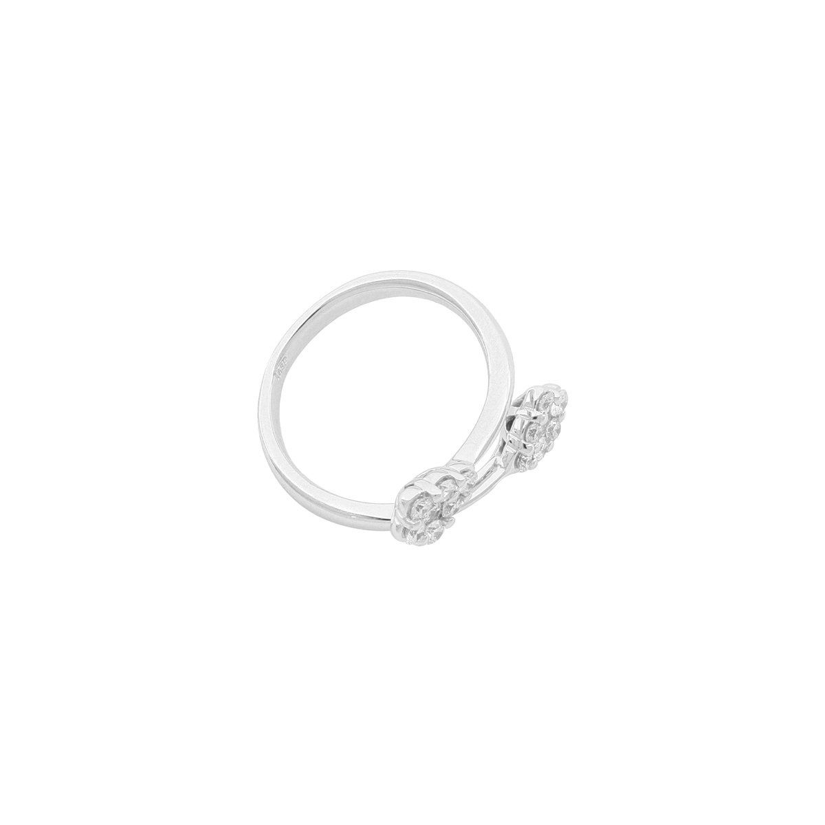 Magic Collection - Diamond Cluster Bypass Ring in 18 Kt White Gold