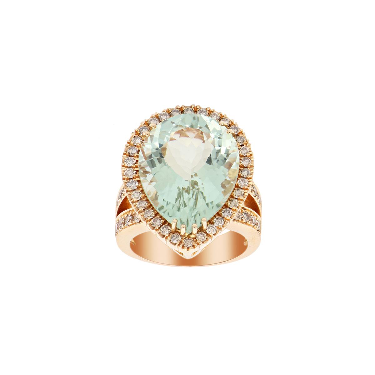 Pear-Cut Amethyst Ring with Diamond Halo