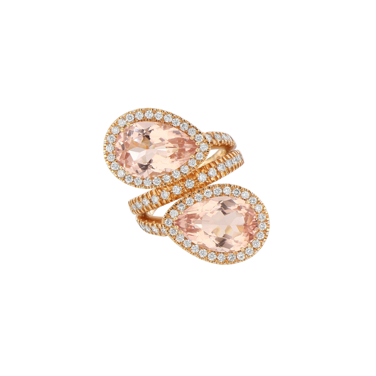 Pear-Cut Tourmaline Bypass Ring with Diamonds