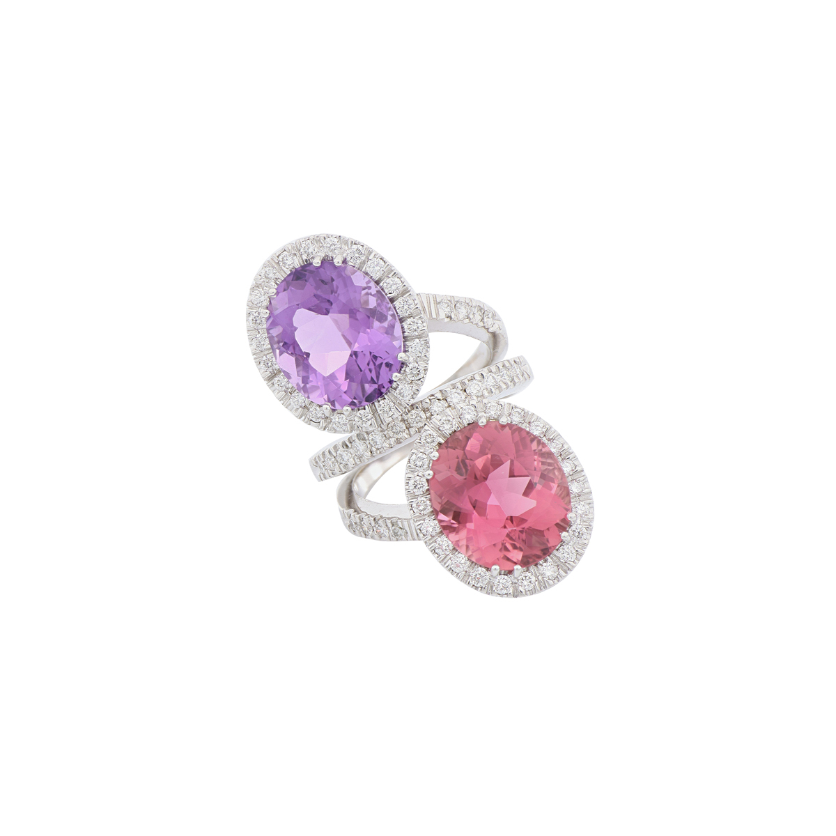 Two-Stone Tourmaline and Amethyst Bypass Ring