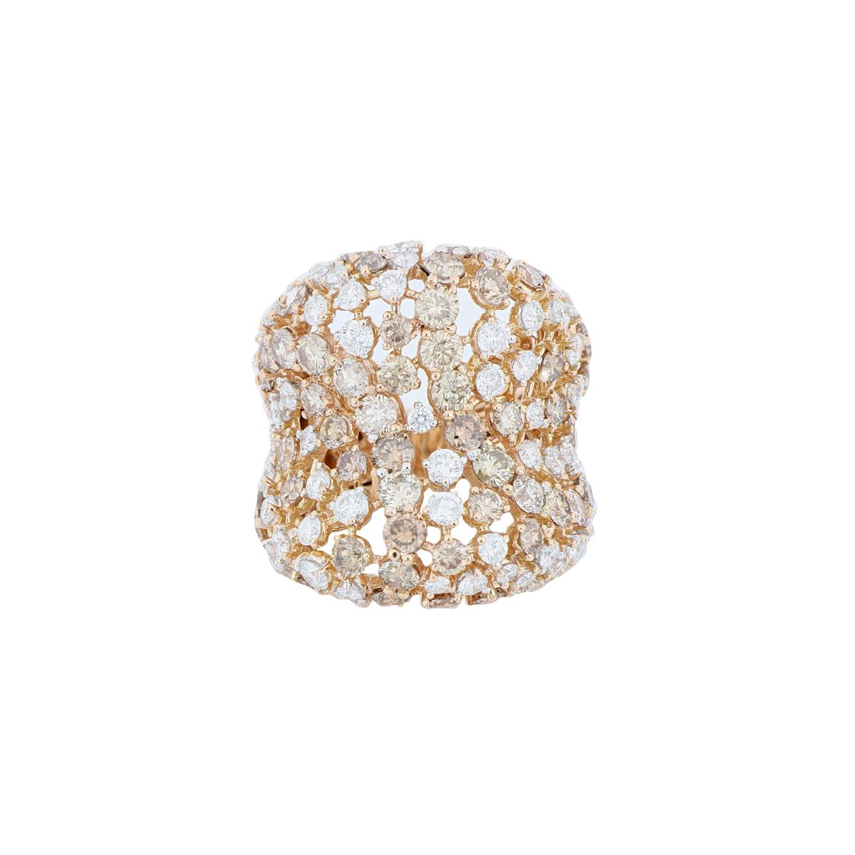 White and Brown Multi-Diamond Fashion Ring