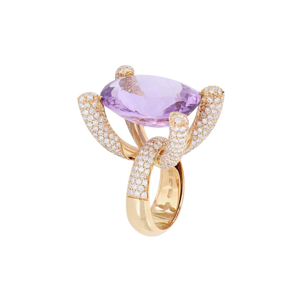 Diamond-Prong Amethyst Ring