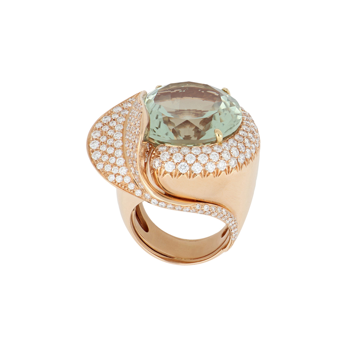 Round Amethyst Ring with Diamond Leaf