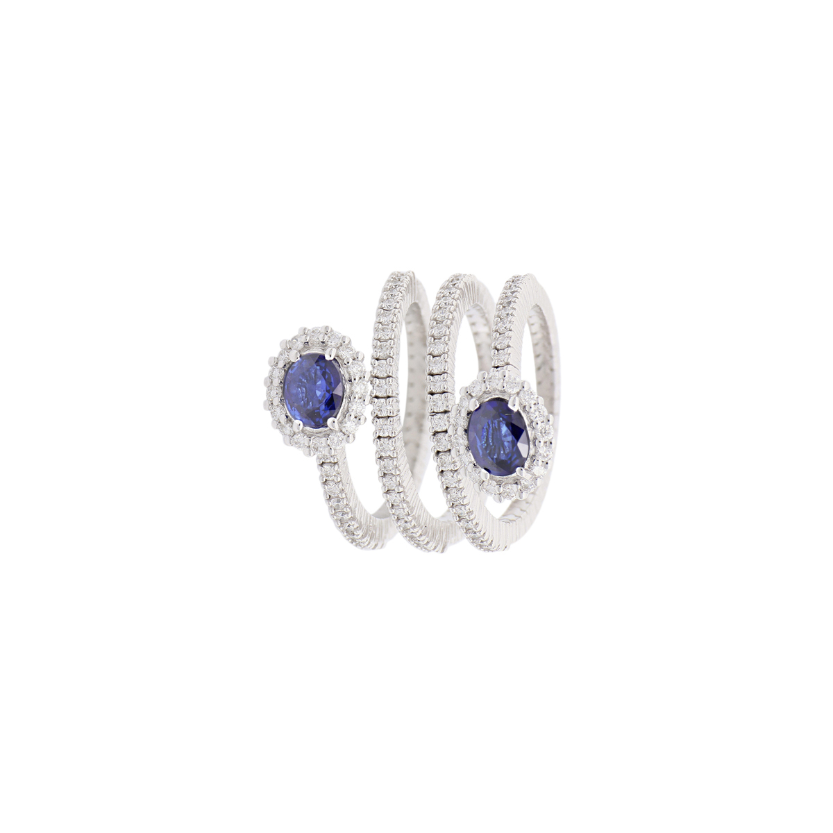Oval Sapphire Spiral Ring with Diamonds