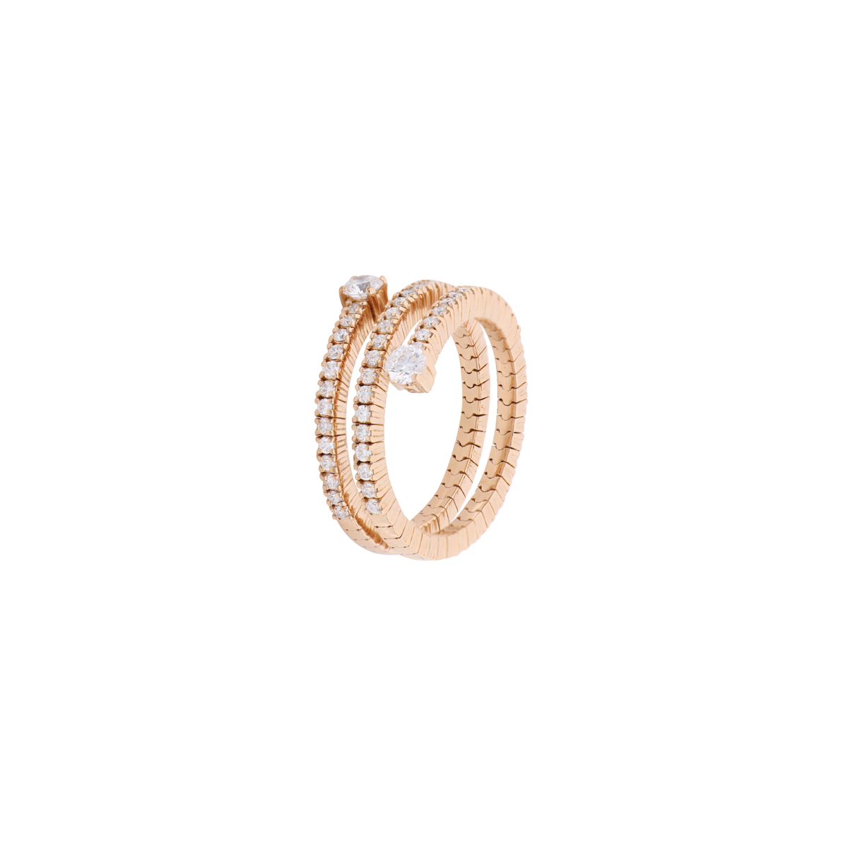 Red Gold and Diamond Spiral Eternity Ring