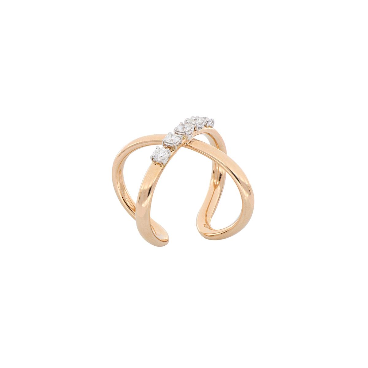 Cross Design Open-Bottom Ring with Diamonds