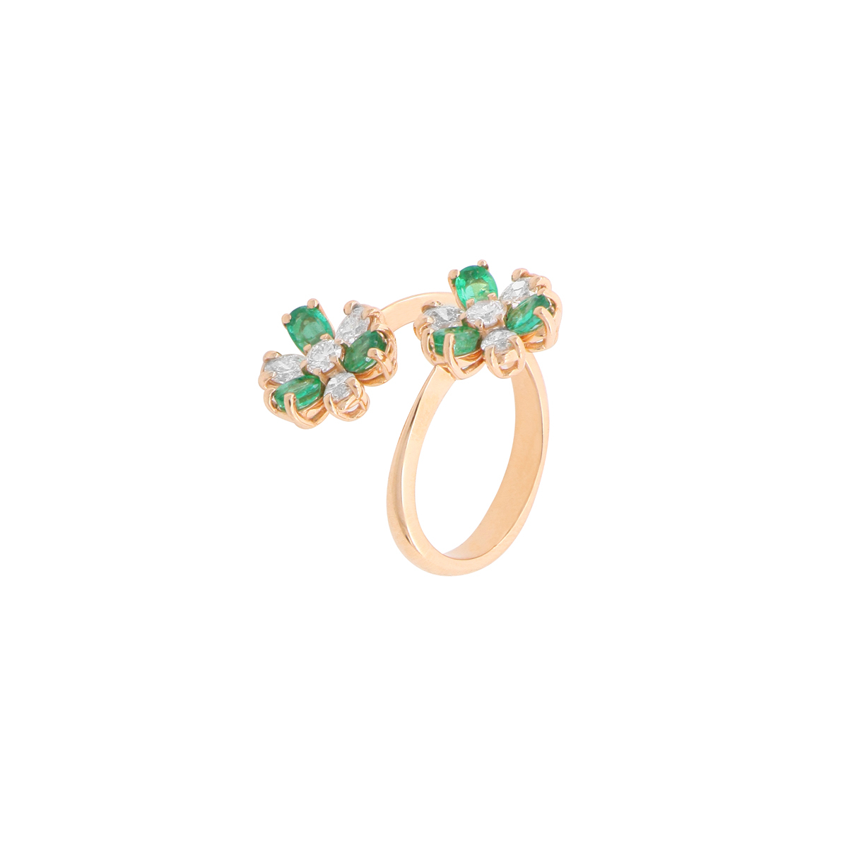 Diamond and Sapphire Flower Bypass Ring