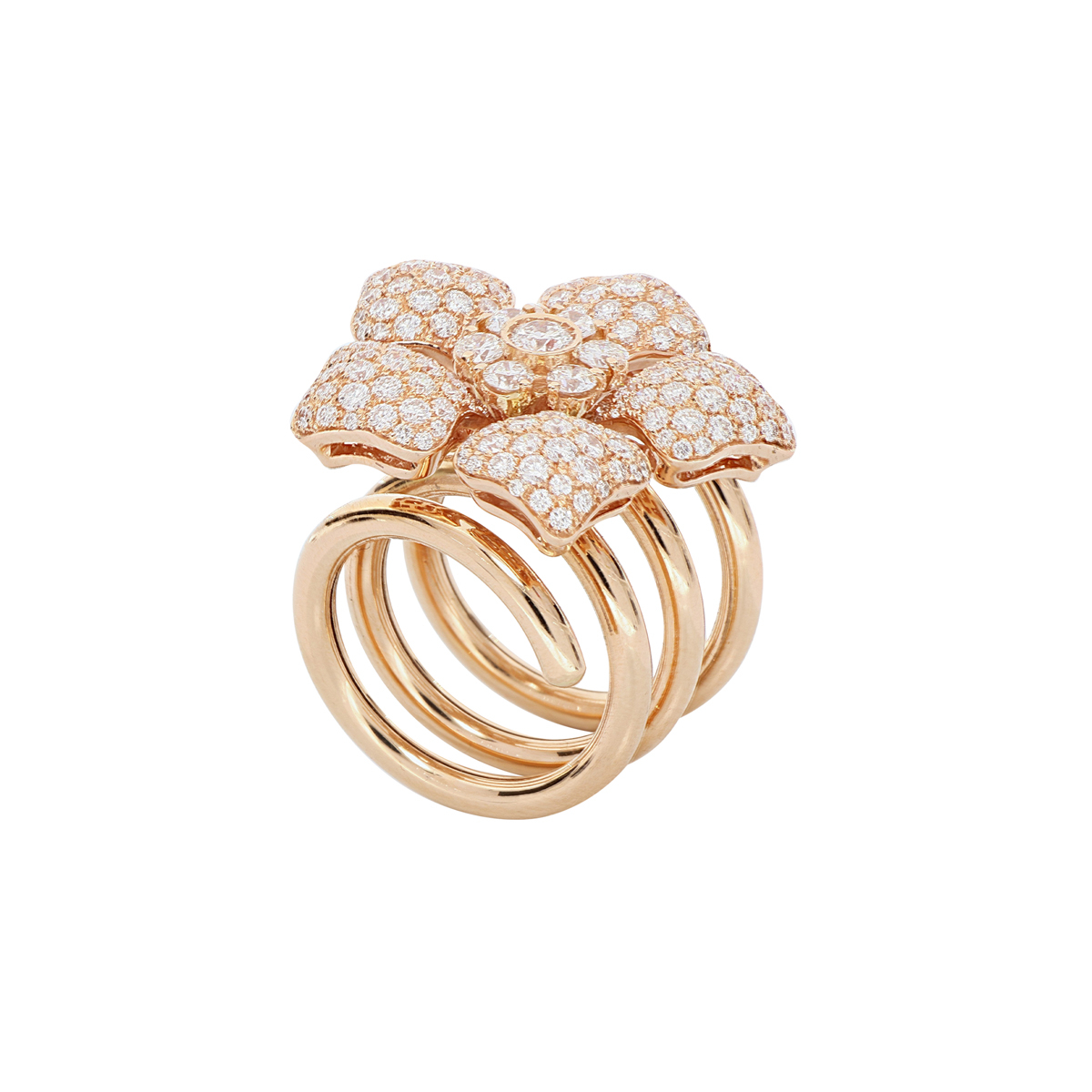 Diamond Flower Spiral Ring