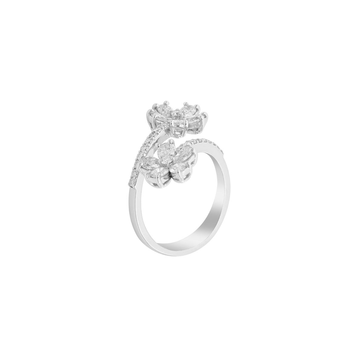 Double Diamond Flower Open-Top Ring