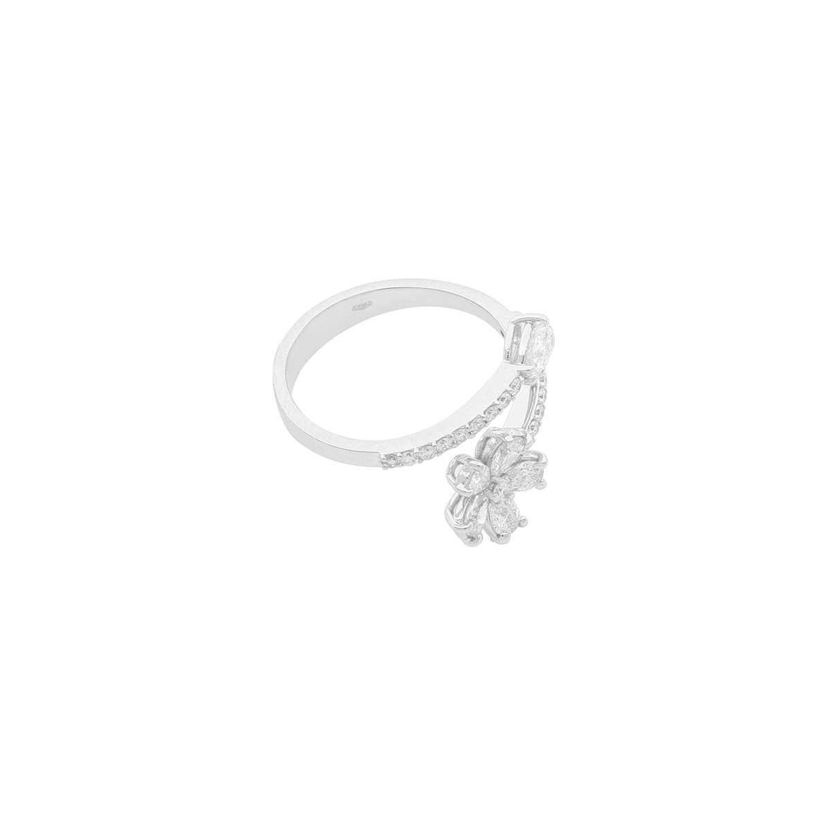 Flower and Pear-Cut Diamond Bypass Ring in White Gold