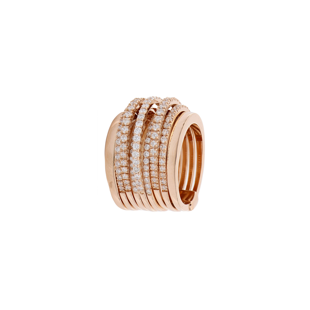 Large Red Gold Diamond Band Ring