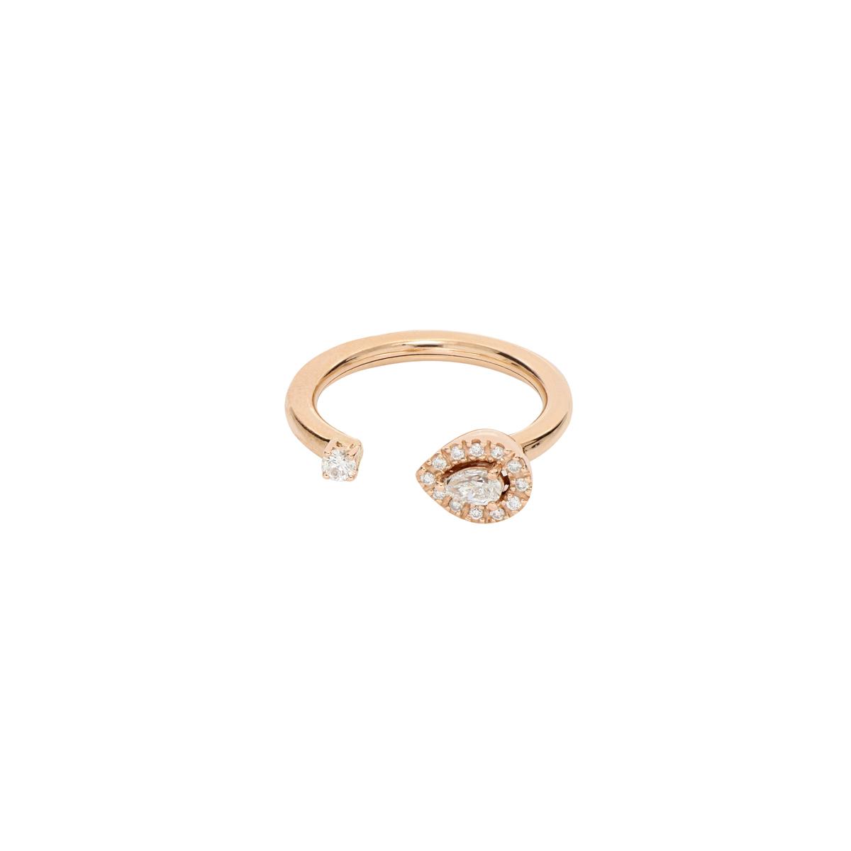 Open-Top Pear-Cut Diamond Ring
