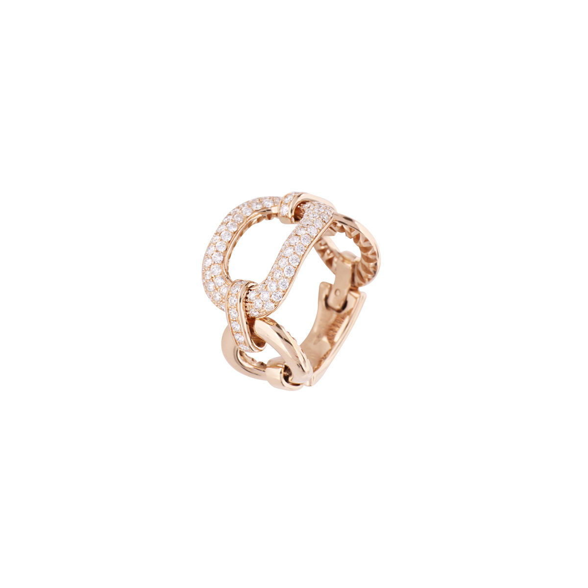 Red Gold and Diamond Chain Ring