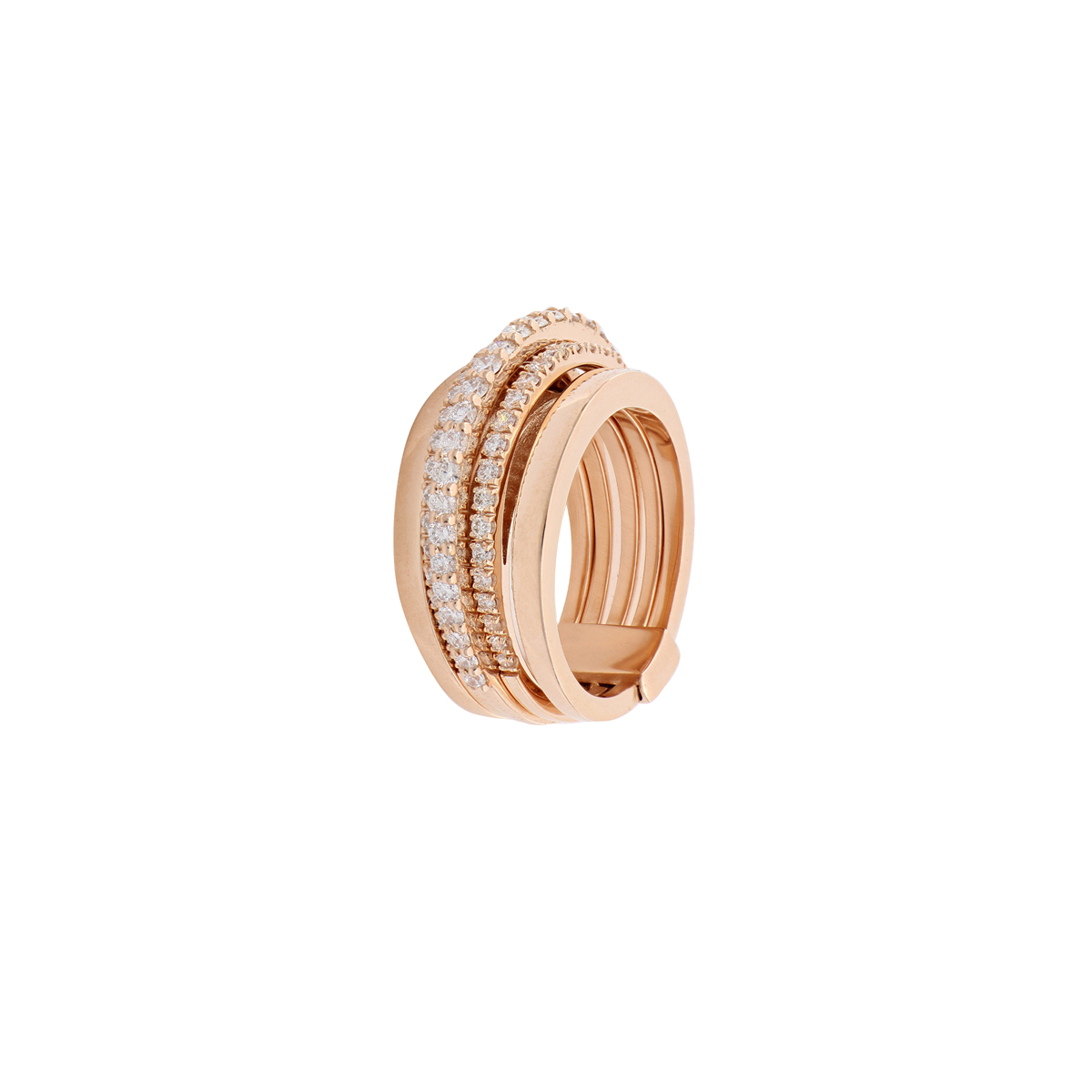 Red Gold Diamond Band Ring