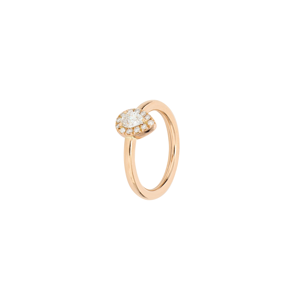 Red Gold Pear-Cut Diamond Halo Ring