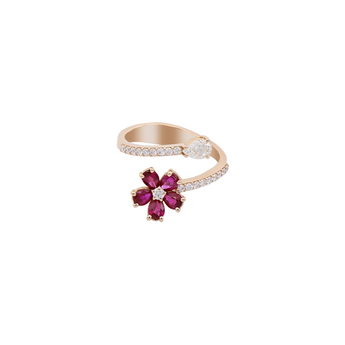 Ruby Flower Open-Top Diamond Ring