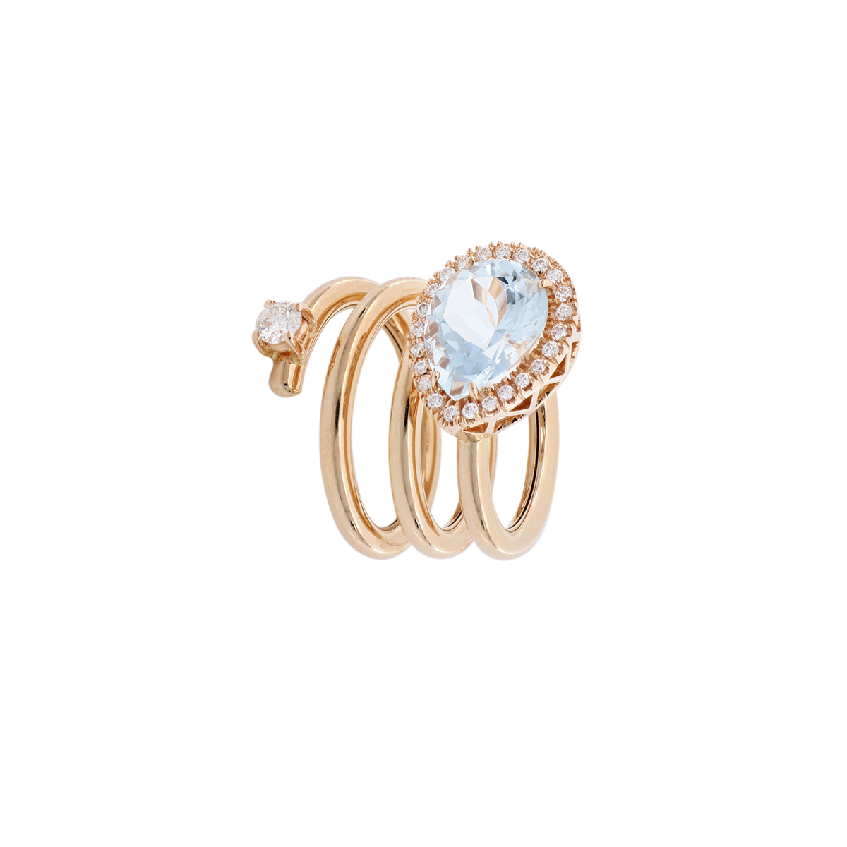 Spiral Ring with Pear-Cut Aquamarine and Diamond Halo