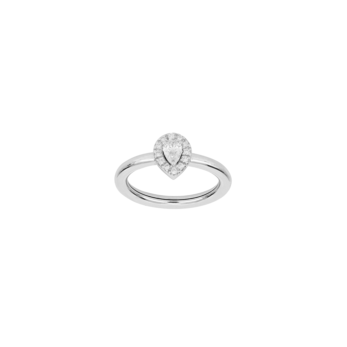 White Gold Pear-Cut Diamond Halo Ring