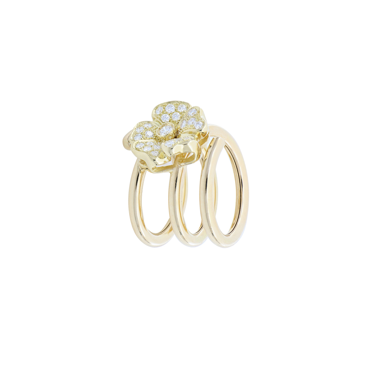 Yellow Spiral Ring with Diamond-Enriched Flower