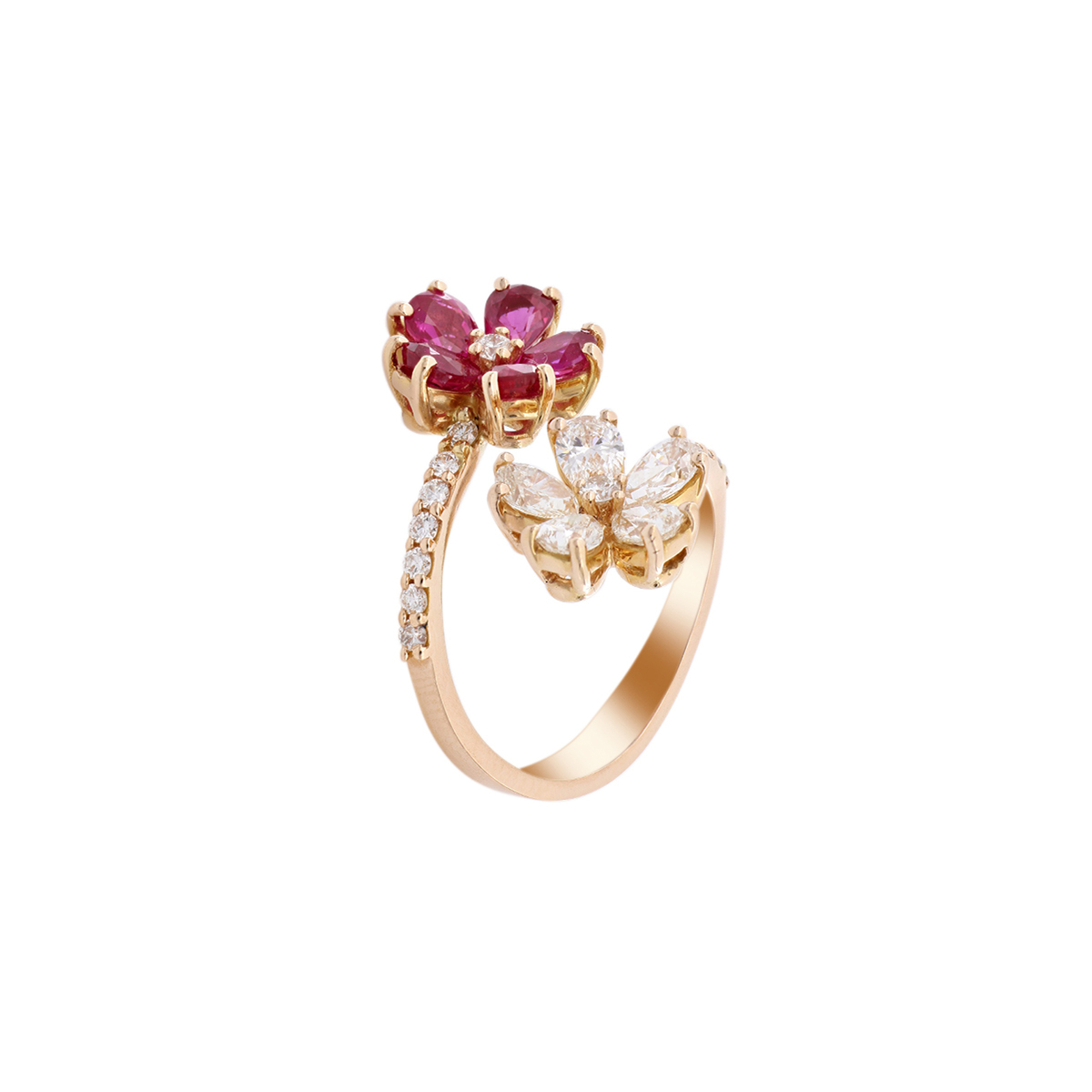 Double Ruby and Diamond Flower Open-Top Ring