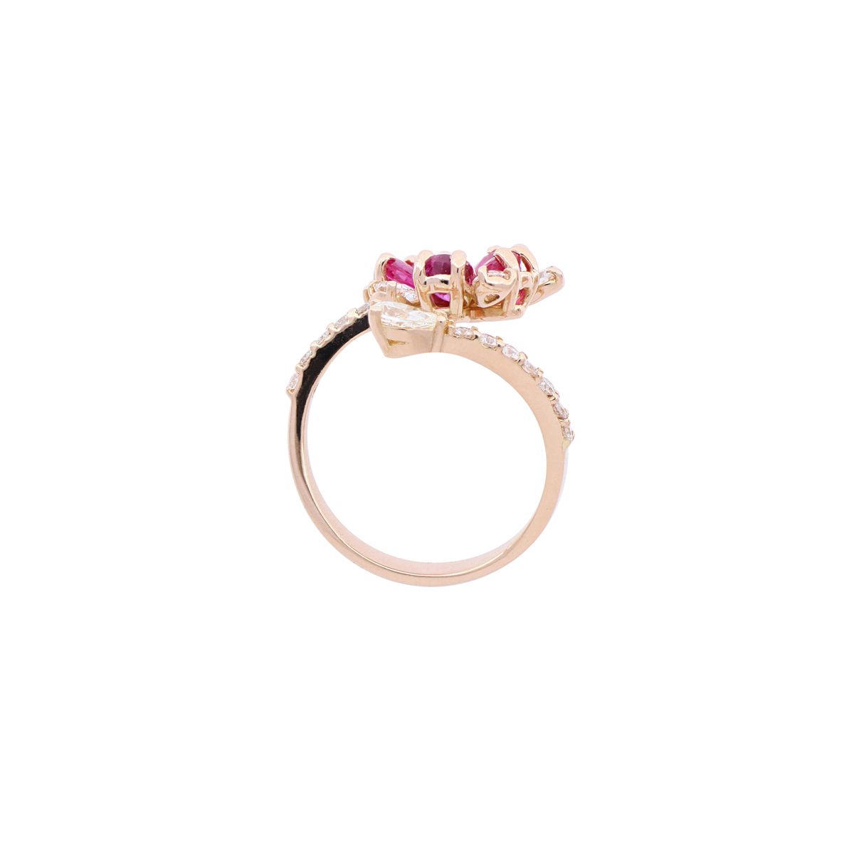 Ruby Flower Open-Top Ring with Diamond Accents