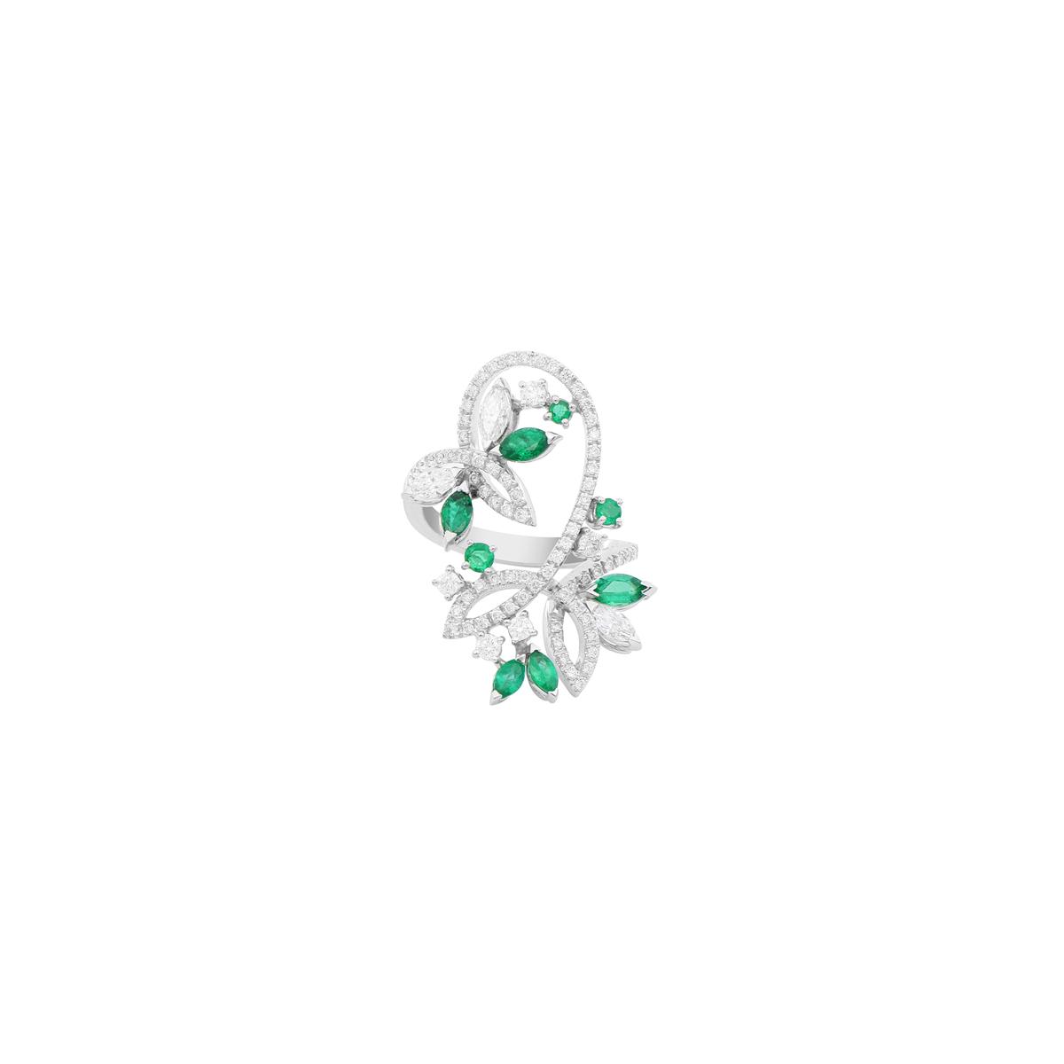 Emerald and Diamond Leaf Ring
