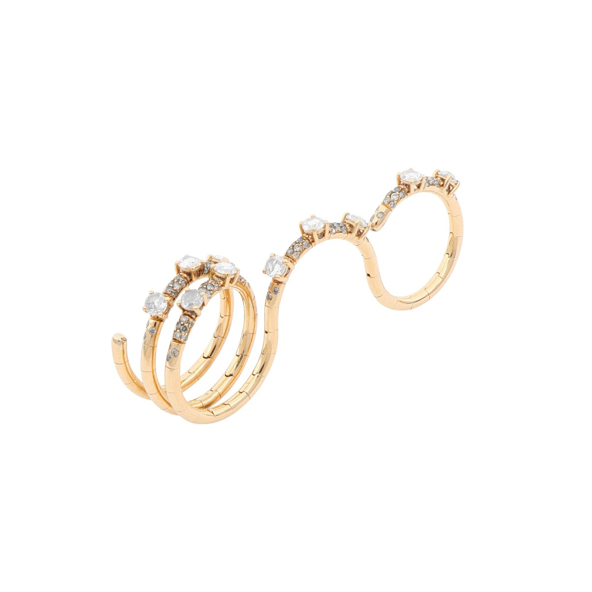 3 in 1 Gold Ring with Diamonds