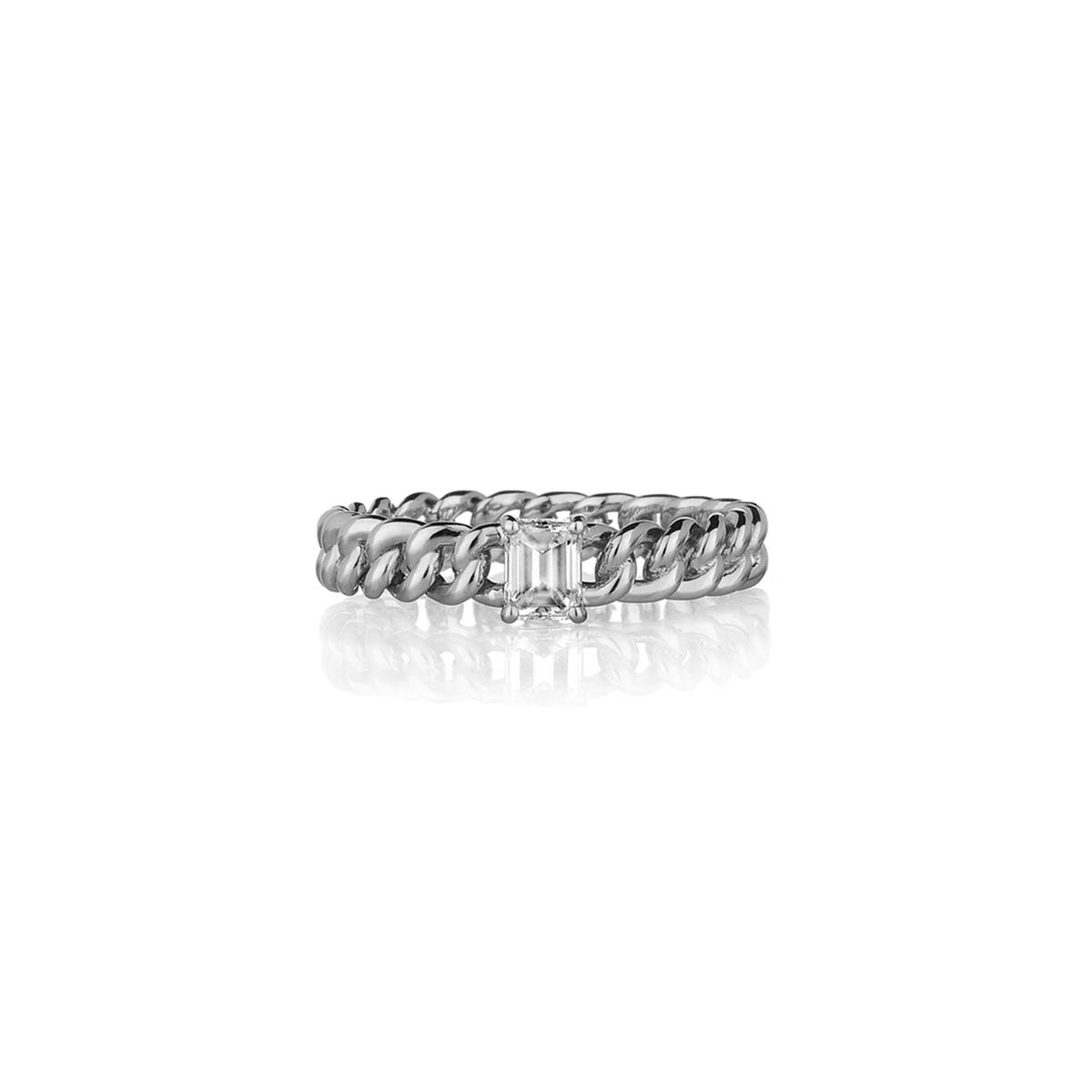 Curb Chain Ring with Emerald-Cut Diamond