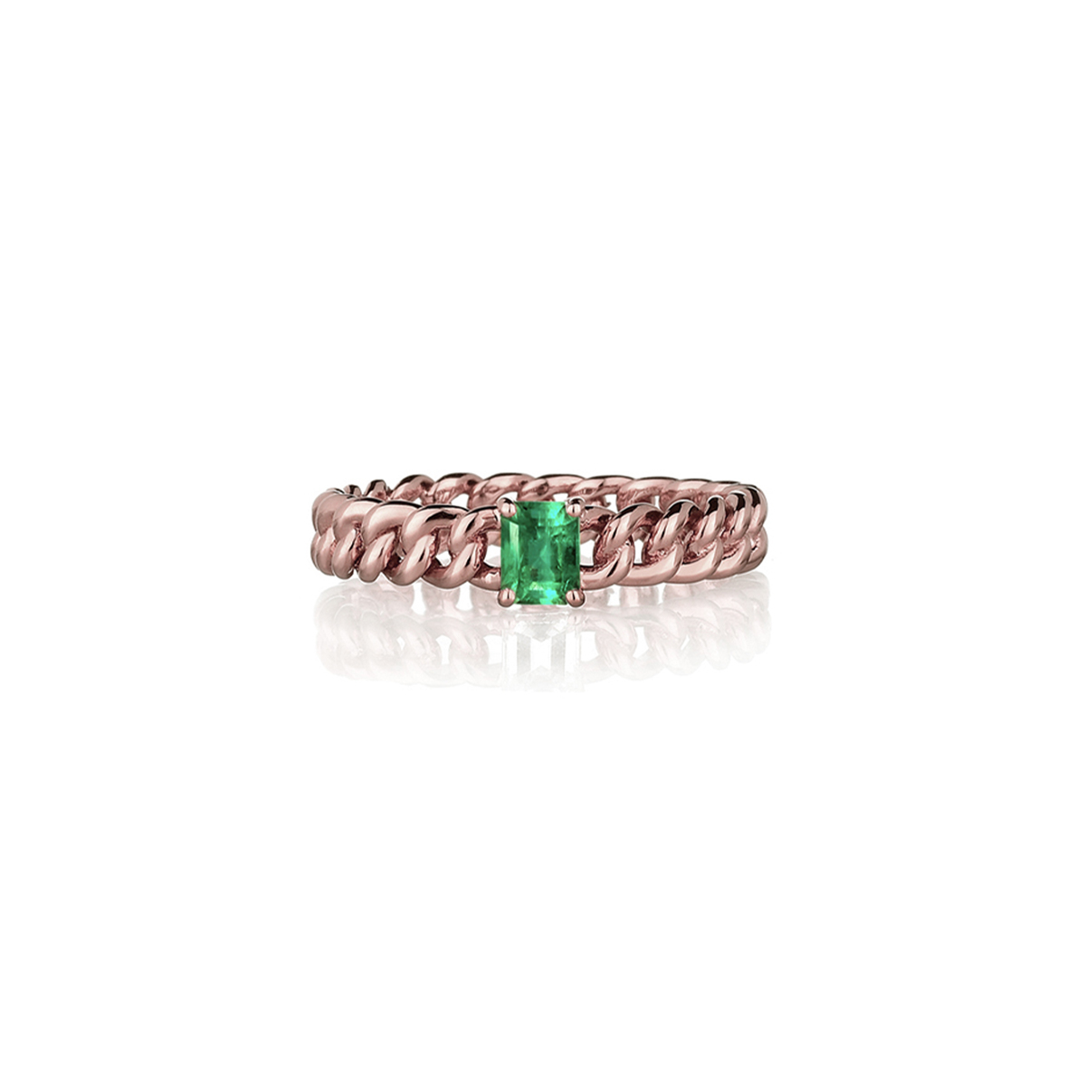 Curb Chain Ring with Green Emerald