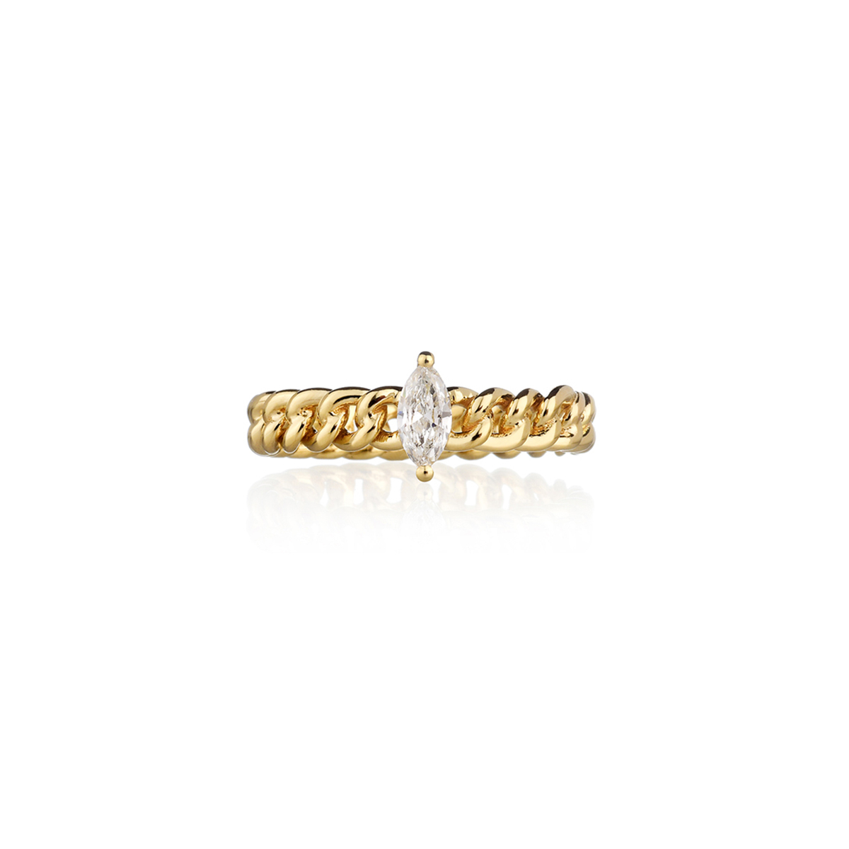 Curb Chain Ring with Marquise-Cut Diamond
