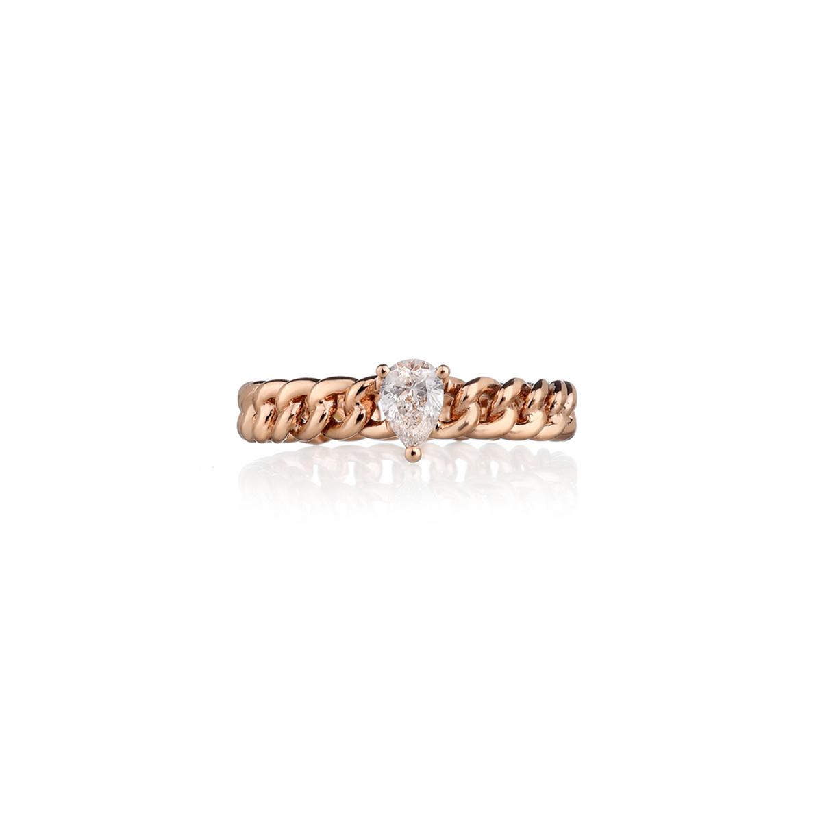 Curb Chain Ring with Pear-Cut Diamond