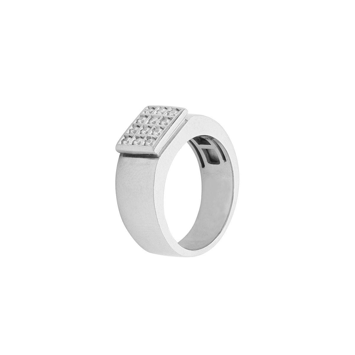 Grid Diamonds Platinum Ring