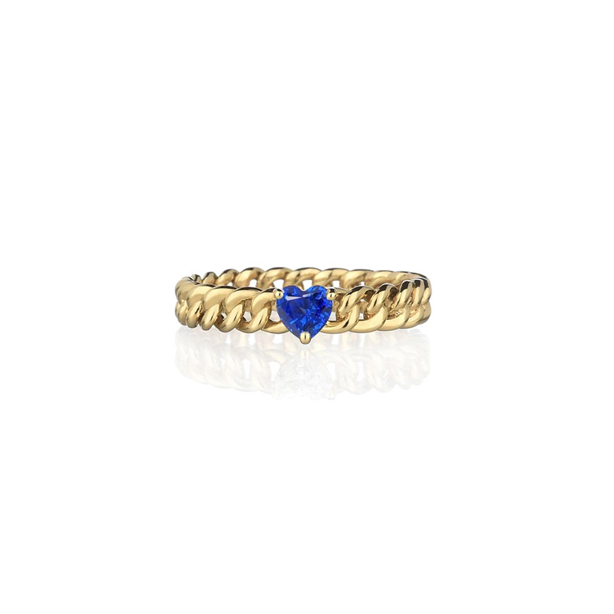 Minigroumette - Fancy blue Heart Ring