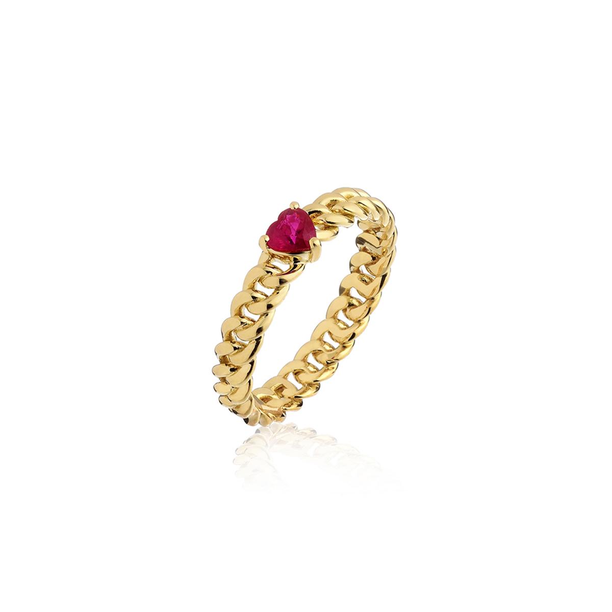Minigroumette - Fancy Red Heart Ring