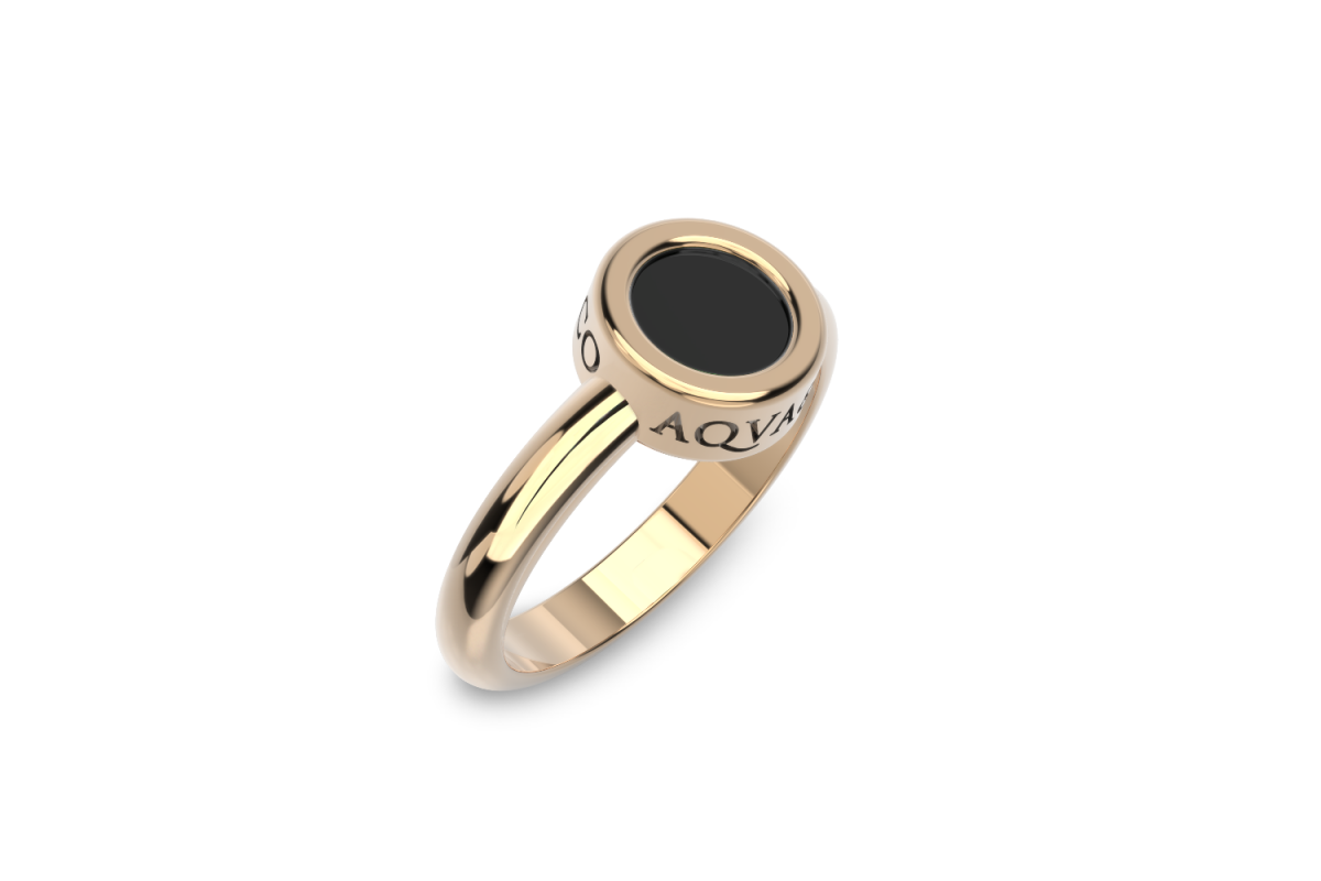 Onyx Disc Ring in Rose Gold