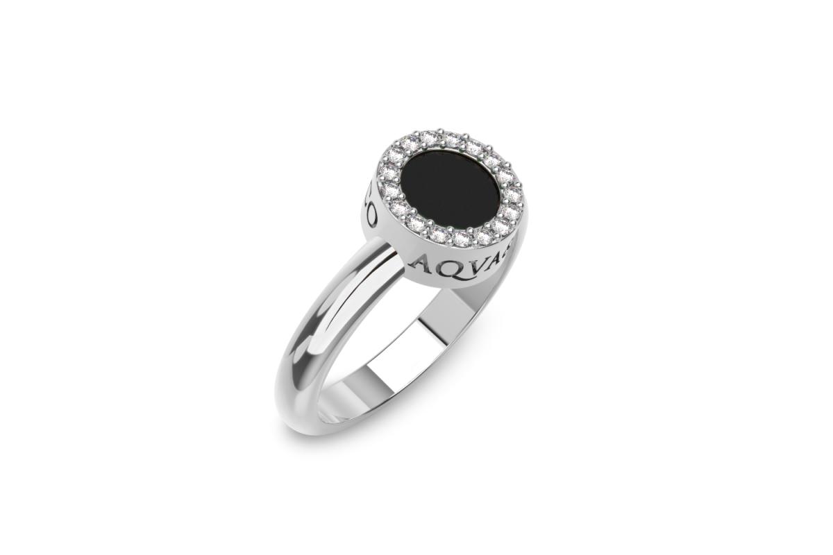 Onyx Disc Ring with Diamond Halo