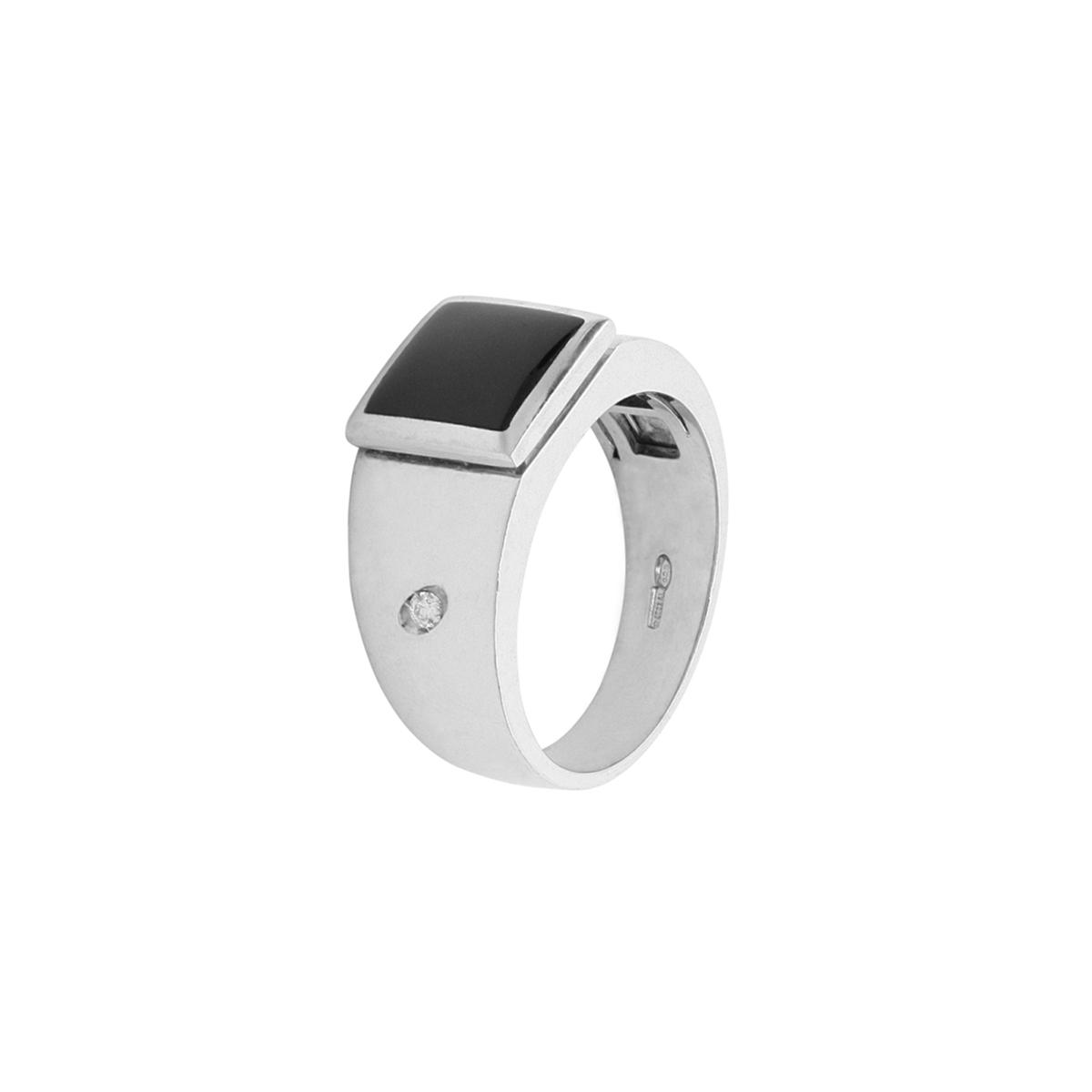 Onyx Stone Platinum Ring