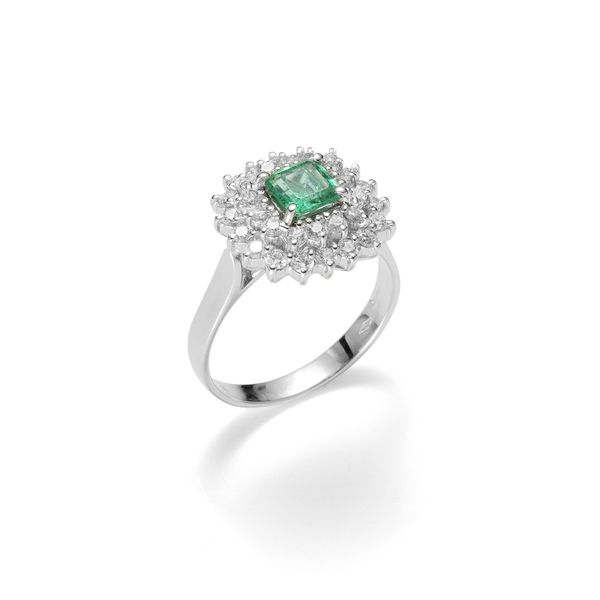 Radiant-Cut Emerald Ring with Double Diamond Halo