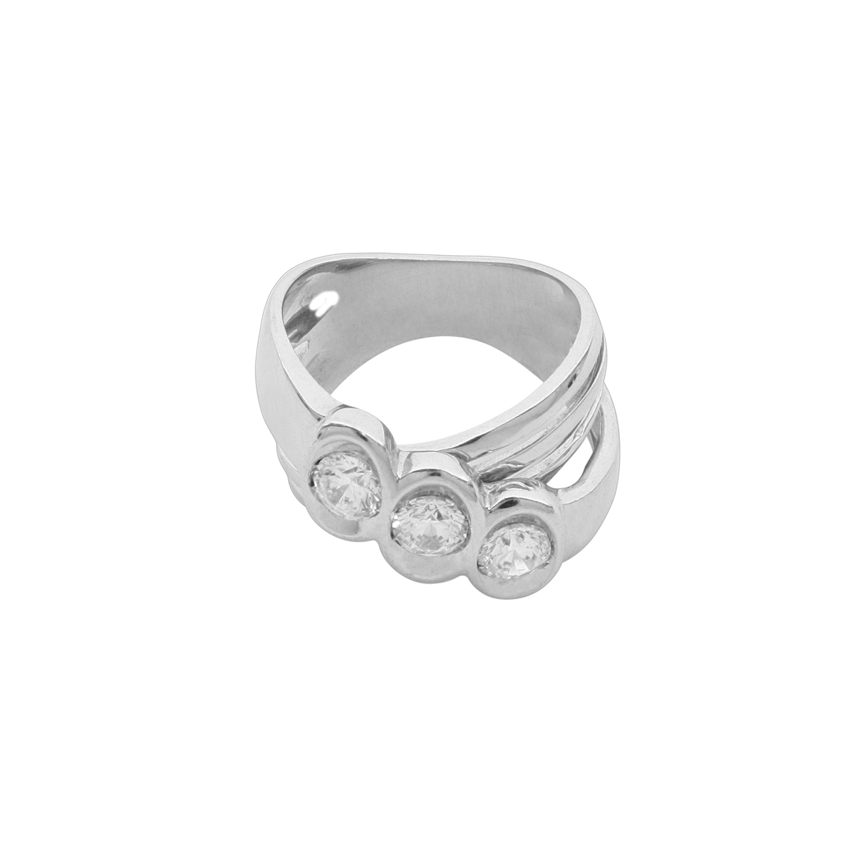 Split-Shank Trilogy Platinum Ring