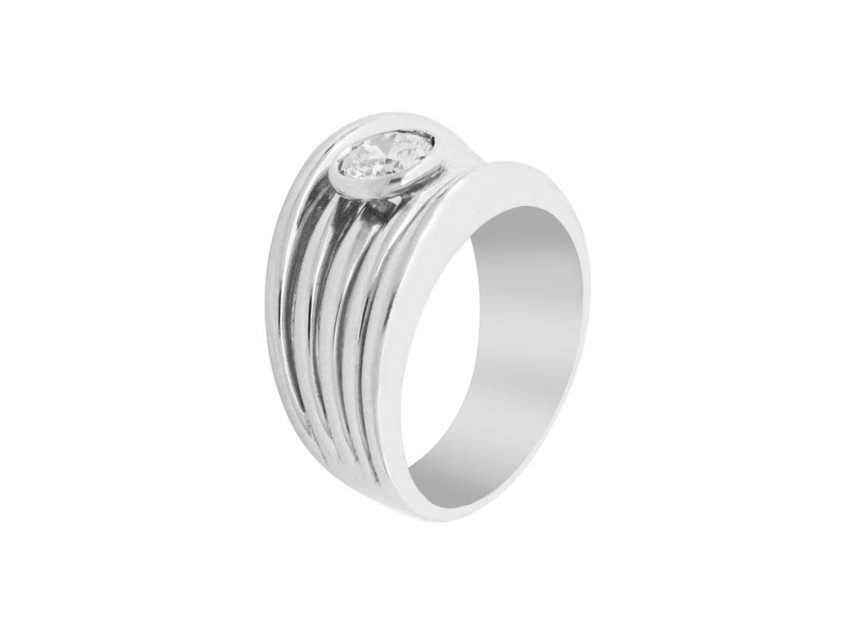 Striped Platinum Band Ring with Bezel-Set Diamond
