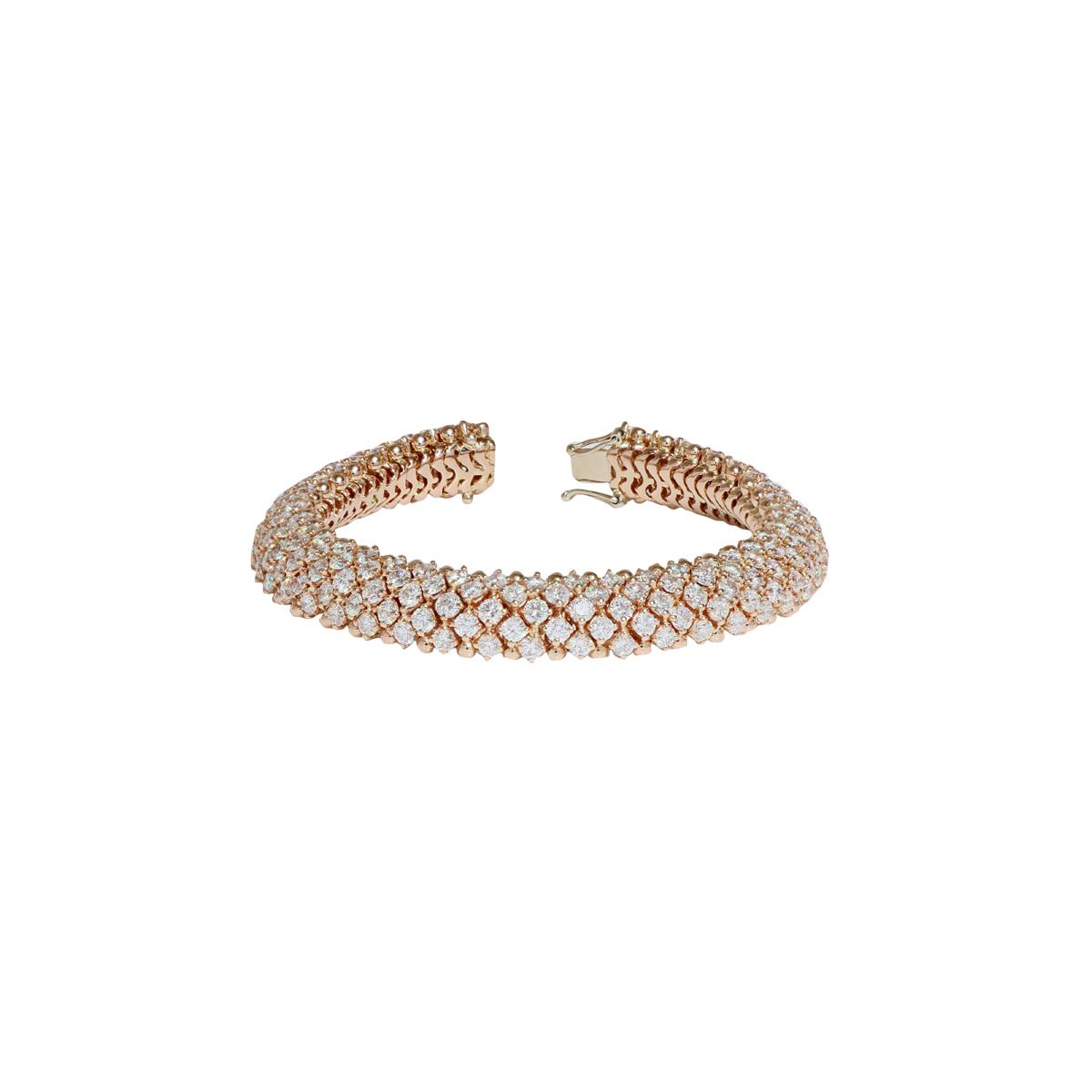 18 Kt Red Gold Diamond-Pavé Chain Bracelet