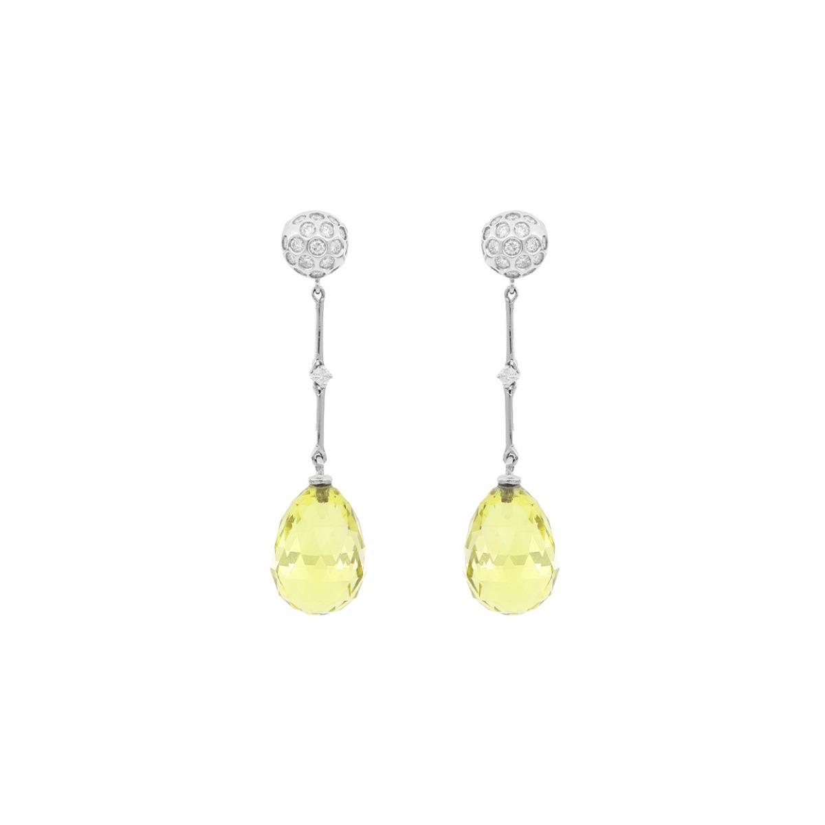 Lemon Quartz Drop Earrings with Diamonds