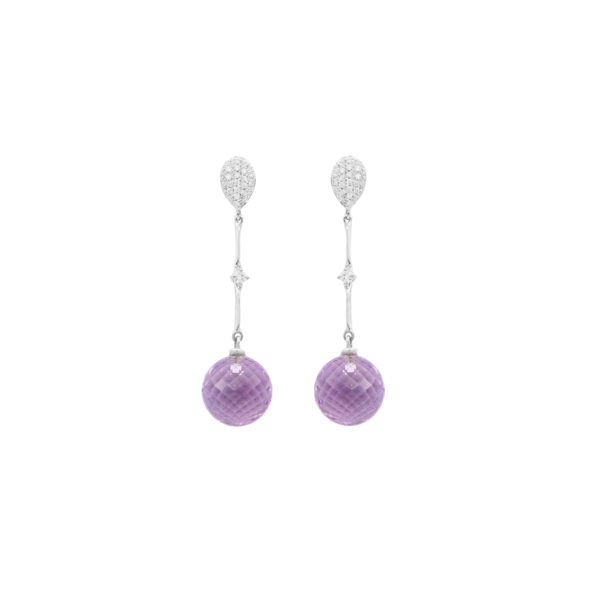 Precious Amethysts And Diamonds Earrings